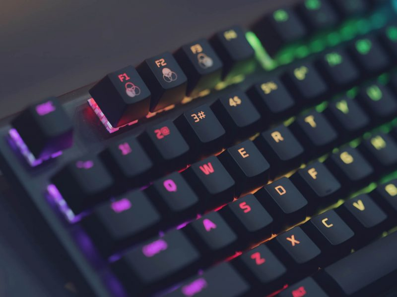 Close up of Computer RGB gaming keyboard, Illuminated by colored LED