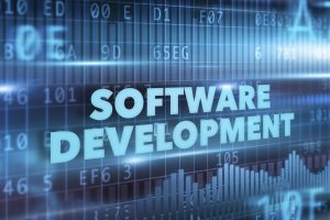 Software development concept blue text blue background